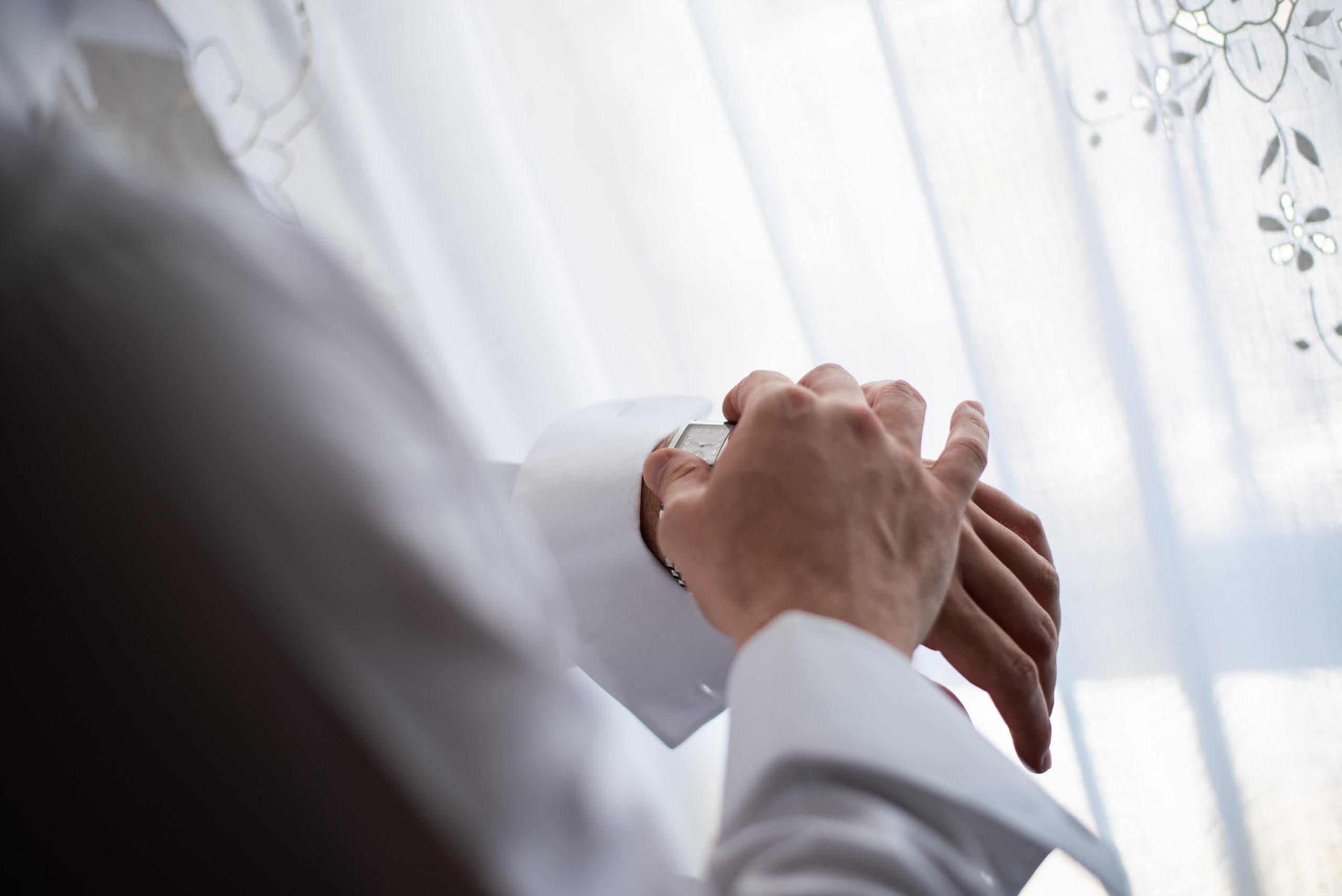 Groom Hands Detail Checking Wrist Watch