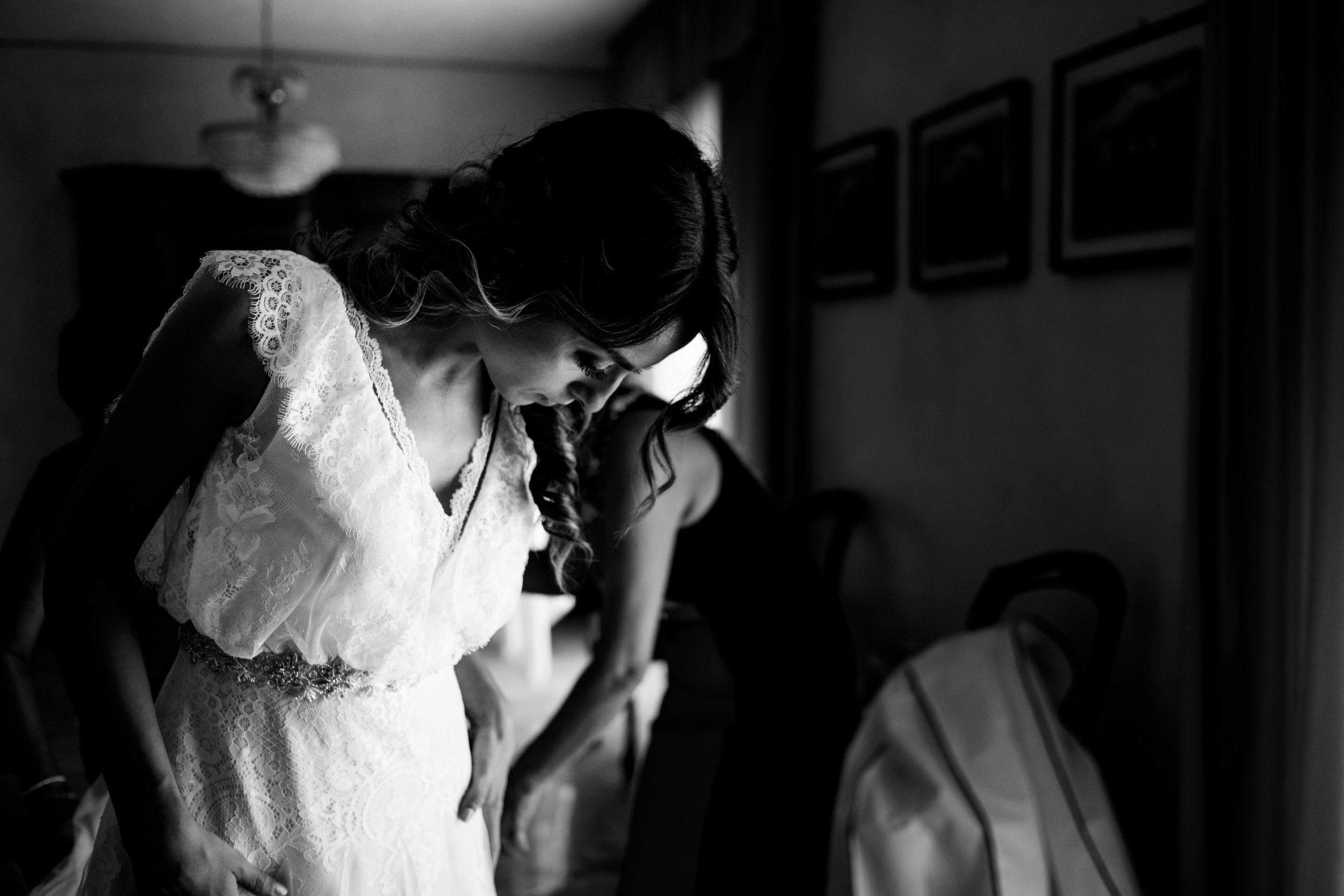 Bride Checking Wedding Dress