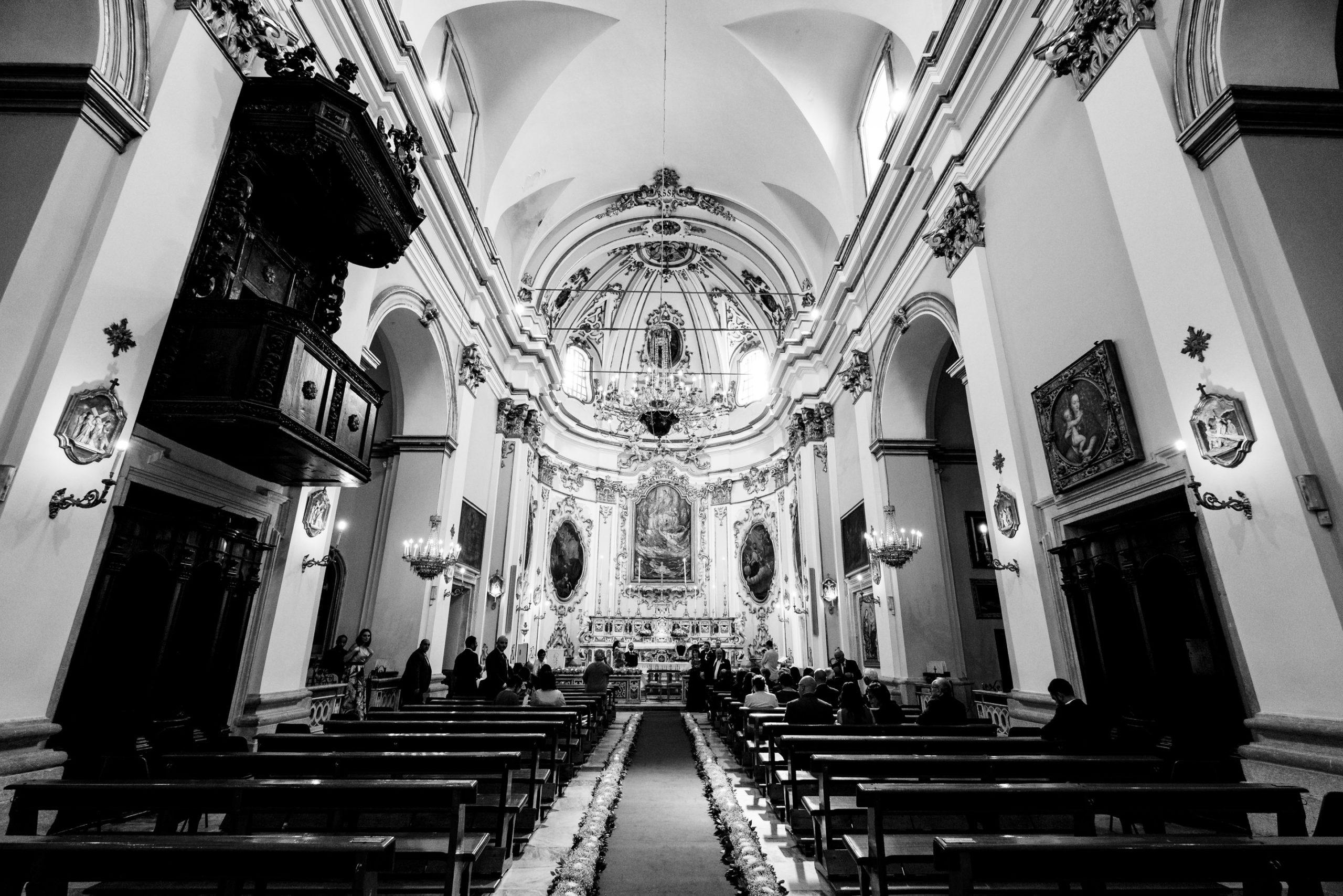 Empty Church Before Wedding Ceremony
