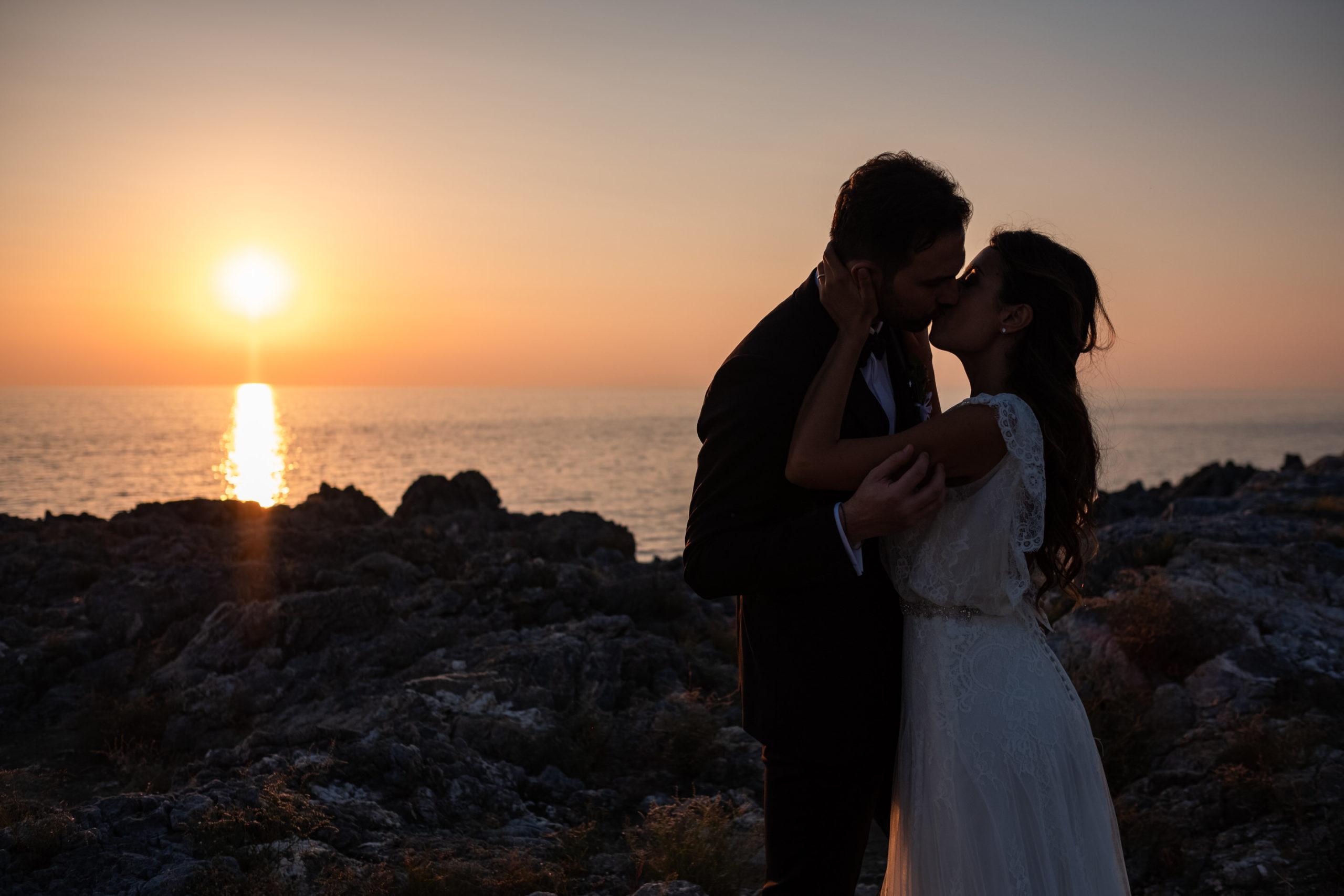 Couple Kissing Calabria Sunset near Diamante Coast